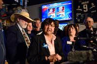 "<p>Lupe Valdez spoke as March 6 primary election results were displayed during a watch party for the Dallas County Democrats at Dallasite bar and billiards. (Ben Torres/Special Contrib<wbr style="""">utor)</p>"
