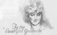 Many ads, like this illustrated one from 1926, emphasized the sweetness and beauty of female graduates, rather than their accomplishments or intellect.(DMN)