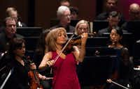 Emmanuelle Boisvert performs Alban Berg's Concerto for Violin and Orchestra with the Dallas Symphony Orchestra, conducted by music director Jaap van Zweden, at Moody Performance Hall on May, 10, 2018. (Rex C. Curry/Special Contributor)