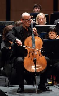 Cellist Christopher Adkins performs Tchaikovsky's <i>Pezzo capriccioso</i>, Op.62 with the Dallas Symphony Orchestra, led by music director Jaap van Zweden, on May, 10, 2018. (Rex C. Curry/Special Contributor)
