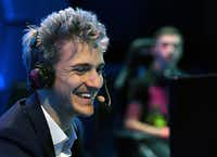 """LAS VEGAS, NV - APRIL 21:  Twitch streamer and professional gamer Tyler """"Ninja"""" Blevins streams during Ninja Vegas '18 at Esports Arena Las Vegas on April 21, 2018 in Las Vegas, Nevada. Blevins is playing against more than 230 challengers in front of 700 fans in 10 live """"Fortnite"""" games with up to USD 50,000 in cash prizes on the line. He is donating all his winnings to the Alzheimer's Association.  (Photo by Ethan Miller/Getty Images)(Ethan Miller/Getty Images)"""