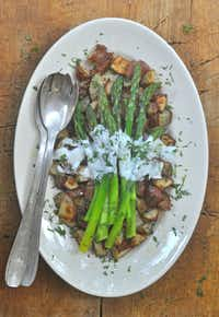 New Potatoes with Aspargus, Herbed Yogurt and Chile Oil(Ellise Pierce/Special Contributor)