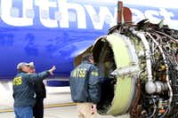 PHILADELPHIA, PA: NTSB investigators examine damage to the CFM International 56-7B turbofan engine belonging Southwest Airlines Flight 1380 that separated during flight Philadelphia International Airport April 17, 2018 in Philadelphia, Pennsylvania. (Photo by Keith Holloway/National Transportation Safety Board via Getty Images)(Handout/Getty Images)
