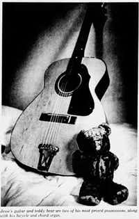 The Teddy Bear and guitar that belonged to Jesse Daniels, featured in <i>Beneath a Ruthless Sun</i>. (Red Morgan/Red Morgan)