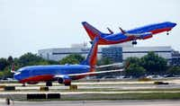 A Southwest Airlines jet takes off in front of company headquarters at Dallas Love Field in Dallas in April 2018.(Tom Fox/Staff Photographer)