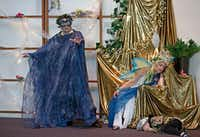 From left: Patrick Gnage, Rebecca Beasley and Asher Beasley perform during a dress rehearsal for a Dallas Bach Society production of Henry Purcell's <i>The Fairy Queen</i> Saturday at Northaven United Methodist Church.(Jae S. Lee/Staff Photographer)