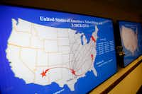 A map shows when and where individuals transported fake contraband out of DFW International Airport. The map was displayed during a news conference at the Earle Cabell Federal Building and Courthouse in Dallas. A federal grand jury has returned an indictment charging 10 individuals for their role in conspiring to traffic contraband through the airport.(Rose Baca/Staff Photographer)