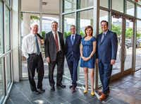 """<p>Larry Good, left, is retiring from Dallas architecture firm GFF. His partner Duncan Fulton, to his right, will be the new chairman. Evan Beattie (center) is the new president and<span style=""""font-size: 1em; background-color: transparent;"""">Allison Hubbard and Rick Myers will be co-chief operating officers.</span></p>(GFF)"""