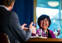 Gubernatorial candidates Andrew White and Lupe Valdez debated on May 11 at St. James Episcopal Church in Austin. Early voting is underway this week for Tuesday's Democratic runoff between Valdez and White.(Ashley Landis/Staff Photographer)