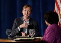 <p>Texas Democratic gubernatorial candidates Andrew White and Lupe Valdez took part in a debate May 11. White says he's the Democrats' best hope for defeating Gov. Greg Abbott, but many progressive primary voters see Valdez as more reflective of their liberal leanings.</p>(Eric Gay/The Associated Press)