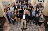 """<p><span style=""""font-size: 1em; background-color: transparent;"""">Cast members from <i>Hamilton</i>pose for a photo with former President George H.W. Bush after they gave a private performance Tuesday.</span></p>(Office of George H.W. Bush/Mark Burns)"""