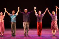 Retiring SMU dance professor Danny Buraczeski (center) takes his bows at the end of the SMU Spring Dance Concert, which was dedicated to his choreography.  (Paul C. Phillips)