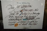 A note from Tom Wolfe hangs in the office of George Getschow. (George Getschow)