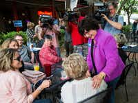 Gubernatorial candidate and former Dallas sheriff Lupe Valdez greets supporters at a campaign event on Wednesday, May 2, 2018 at Stoneleigh P in Dallas.(Ashley Landis/Staff Photographer)
