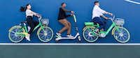 Silicon Valley-based LimeBike is one of the numerous bike-share companies competing in Dallas. The company plans to soon roll out more transportation options in Dallas. It'll offer a fleet of three modes of transit — a bike, electric bike and electric scooter. This photo shows all three.(Courtesy of LimeBike)