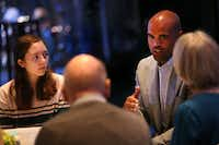 Colin Allred, Democratic candidate for Congress, spoke recently at Lovers Lane United Methodist Church during a small group discussion on gun violence. Justin Irwin, a student at Marjory Stoneman Douglas High School in Parkland, Fla., spoke to church members about the day of the school shooting and his friend Nicholas Dworet, who was killed.(Rose Baca/Staff Photographer)