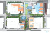 AT&T is spending $100 million to add new features and remodel its 4-building downtown campus.(Gensler)