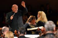 Jaap van Zweden conducts the Dallas Symphony Orchestra in Richard Wagner's <i>Die Walküre</i> with Heidi Melton, center, as Brünnhilde and Michelle DeYoung as Sieglinde, in a concert performance May 18, 2018 at the Morton H. Meyerson Symphony Center in Dallas. (Ben Torres/Special Contributor)