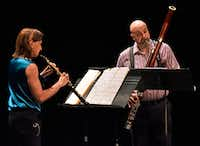 <p></p><p>Erin Hannigan, left, and Ted Soluri perform the Duo for oboe and bassoon by Heitor Villa-Lobos, during a concert by Voices of Change, on May 19, 2018, at the Latino Cultural Center in Dallas. B</p><p></p>(Ben Torres/Special Contributor)