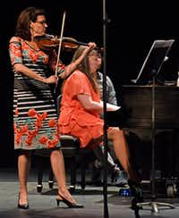 Maria Schleuning, violin, and Liudmila Georgievskaya, piano, perform Sonata No. 4 by Mozart Camargo Guarnieri, during a concert by Voices of Change, on Saturday evening, May 19, 2018, at the Latino Cultural Center in Dallas.(Ben Torres/Special Contributor)