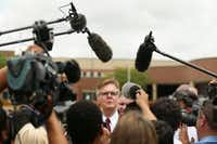 Texas Lt. Gov. Dan Patrick speaks to the media after placing flowers at Santa Fe High School in Santa Fe, Texas Sunday May 20, 2018.(Andy Jacobsohn/Staff Photographer)