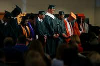 Graduating high school seniors are recognized during worship service at Arcadia First Baptist Church in Santa Fe, Texas Sunday May 20, 2018. Gov. Greg Abbott, Lt. Gov. Dan Patrick, and others were in attendance at the service.(Andy Jacobsohn/Staff Photographer)
