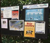 """Visitors will see these signs  at the top of City Creek Canyon Trail, where hikers can go from downtown Salt Lake City to """"bear country.""""(Sheryl Jean/Special Contributor)"""