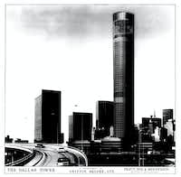 A proposal by Pratt, Box & Henderson (the architects James Pratt, Hal Box and Philip Henderson) for the firm's most dramatic project: an 80-story tower for downtown Dallas with an amusement park at its top. The project was never built.(Pratt)