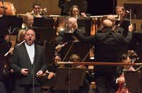 Matthias Goerne, left, in an Oct. 6, 2016 Dallas, Symphony Orchestra performance of the Brahms German Requiem, with music director Jaap van Zweden conducting, at the Morton H. Meyerson Symphony Center.  (Rex C. Curry/Special Contributor)