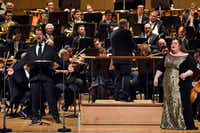 "<p><span style=""font-size: 1em; background-color: transparent;"">Kyle Albertson, left, was a last-minute sub as Wotan, in the Dallas Symphony Orchestra May 18 concert performance of Wagner's <i>Die Walküre</i>, with Jaap van Zweden conducting and Heidi Melton as Brünnhilde, at the Morton H. Meyerson Symphony Center in Dallas.</span></p>(Ben Torres/Special Contributor)"
