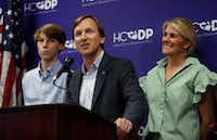 Democratic candidate for governor Andrew White speaks to the media with his family beside him as he conceded to candidate Lupe Valdez at the Harris County Democratic Party headquarters, Tuesday, May 22, 2018, in Houston.(Karen Warren/Houston Chronicle)