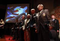 World War ll veteran James Megellas (front right) and other Purple Heart recipients, stand during a Purple Heart Recognition Ceremony hosted by Congressman Kenny Marchant, in Grapevine, Texas on in November, 2009.(Kye R. Lee/The Dallas Morning News)