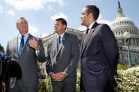 Rep. Jeff Denham, R-Calif., left, speaks next to Rep. David Valadao, R-Calif., and Rep. Will Hurd, R-Texas, during a news conference with House Republicans who are collecting signatures on a petition to force House votes on immigration legislation, Wednesday, May 9, 2018, on Capitol Hill in Washington.(Jacquelyn Martin/AP)
