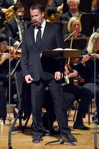 "<p>Kyle Albertson performs Act 3 of Wagner's <span style=""font-size: 1em; background-color: transparent;""><i>Die Walküre</i> with </span><span style=""font-size: 1em; background-color: transparent;"">the Dallas Symphony Orchestra, Friday evening, May 18, 2018 at the Morton H. Meyerson Symphony Center in Dallas.  Hours earlier, he'd been sipping coffee in San Francisco. </span></p>(Ben Torres/Special Contributor)"