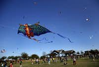 A dragon kite takes flight with several others at the 11th Annual Kite Flying Festival sponsored by Texas Instruments and held at Frisco Commons Park in Frisco on March 29, 2014. (Tom Fox/Staff Photographer)