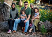 Jefferson Braga and his family on their property in Irving, where they grow vegetables for sale at farmers markets. From left: Jefferson's mom, Jill Braga, Jefferson, son Faris, Jefferson's wife, Soukaina Erridi, and daughter Eleen. (Robert W. Hart/Special Contributor)