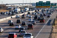 LBJ traffic heading eastbound towards I-30 near the Galloway Avenue intersection in Mesquite. A $1.6 billion project to improve LBJ Freeway from Central to I-30 was advanced by the Texas Transportation Commission in Austin on Thursday.(Vernon Bryant/Staff Photographer)