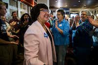 "<p>Gubernatorial candidate and former Dallas County Sheriff <a name=""firsthit"" id=""firsthit"" style=""""></a>Lupe Valdez makes her way to a podium after her runoff win at a Democratic Party celebration at Ellen's in Dallas on May 22, 2018. (Ashley Landis/The Dallas Morning <wbr style="""">News)</p>"