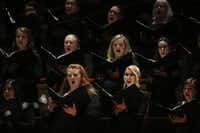 Dallas Symphony Chorus performs while Jaap van Zweden conducts Symphony No. 9 by Beethoven along with the Dallas Symphony Orchestra at the Meyerson Symphony Center in Dallas on Thursday, May 24, 2018.(Andy Jacobsohn/Staff Photographer)