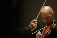 Alexander Kerr performs Violin Concento No. 2 by composer Jonathan Leshnoff with conductor Jaap van Zweden and the Dallas Symphony Orchestra at the Meyerson Symphony Center in Dallas on Thursday, May 24, 2018. (Andy Jacobsohn/Staff Photographer)