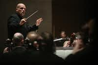 Jaap van Zweden conducts Symphony No. 9 by Beethoven along with the Dallas Symphony Orchestra and Chorus at the Meyerson Symphony Center in Dallas on Thursday, May 24, 2018.(Andy Jacobsohn/Staff Photographer)