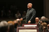 Jaap Van Zweden looks into the hall before conducting Beethoven with the Dallas Symphony Orchestra at the Meyerson Symphony Center in Dallas Thursday May 24, 2018. Zweden's last performance with the Dallas Symphony Orchestra is Saturday May 26, 2018.(Andy Jacobsohn/Staff Photographer)