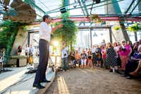 Rep. Beto O'Rourke, a Democrat looking to unseat incumbent Republican Sen. Ted Cruz, speaks at a rally, Thursday, May 24, 2018 at Mudhen Meat and Greens in Dallas. (Jeffrey McWhorter/Special Contributor)