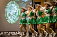 Drill team members at Berkner High School participate in a pep rally celebrating the launch of Stem For All on May 16.(Robert W. Hart/Special Contributor)