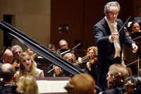 The Dallas Symphony Orchestra with conductor Fabio Luisi, right, and pianist Lise de la Salle perform Beethoven Concerto No. 4 in G major for piano and orchestra, Op. 58, at the Morton H. Meyerson Symphony Center in Dallas on March 8.(Ben Torres/Special Contributor)