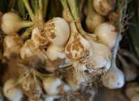 Onions from Gandy Farms in Edom, Texas, at The Farmacy.(Andy Jacobsohn/Staff Photographer)