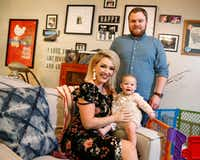 Kaley Hanna with her husband, Justin Hanna, and their daughter, Avery, at their home in  Dallas. The couple met using OkCupid.(Nathan Hunsinger/Staff Photographer)