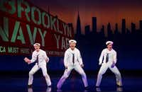 From left: Jay Armstrong Johnson, Tony Yazbeck and Clyde Alves in <i>On The Town </i> at the Lyric Theater in New York in 2014(Sara Krulwich/NYT)