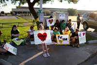 Santa Fe High School supporters gathered by the school Tuesday to wish student and staff well as they returned to classes for the first time since a student killed 10 people.(Marie D. De Jesus/Houston Chronicle)