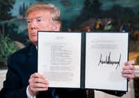 President Donald Trump signed a presidential memorandum on the Iran nuclear deal in the Diplomatic Room of the White House earlier this month.(Doug Mills/New York Times)